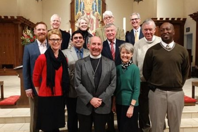The 2016 Vestry: (Left to Right) Brad Thurlow, Steve Rolfe, Amy Hulick, José Guerrero, Nancy Dini, GFW+, Robert Wycoff, Bob Mueler, Sylvia Smythe (new Senior Warden), Michael Harrigian, John Miller, and Danny Jones, (Jim Balbin not pictured).