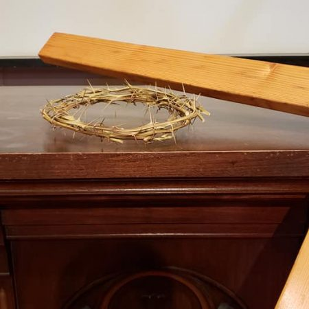 Crown of Thorns and Cross on Altar